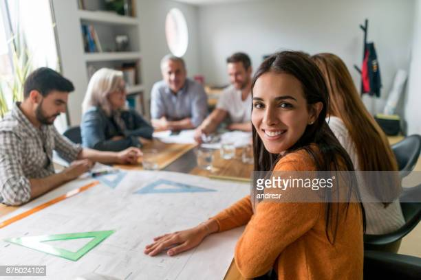 woman working as an architect at a creative office - new stock pictures, royalty-free photos & images