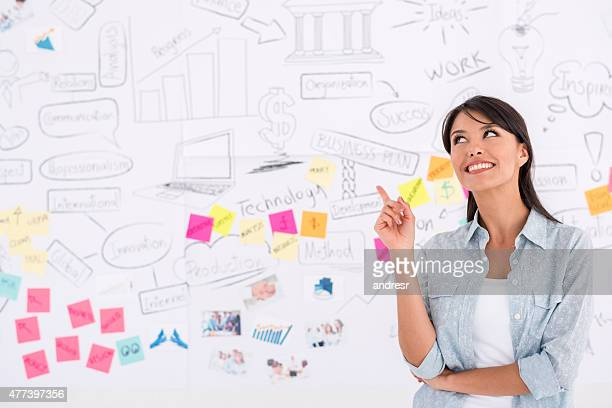 Woman working at a creative office pointing an idea