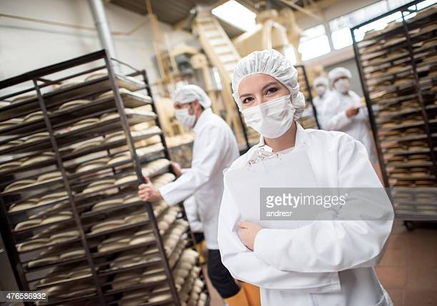 Woman working at a food factory