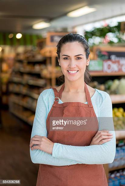Woman working at a food market
