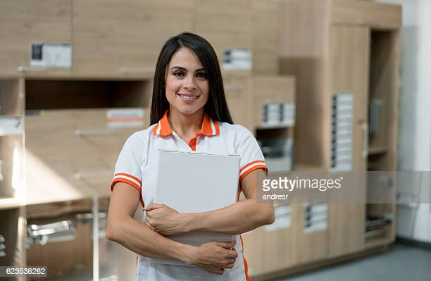 Woman working at a furniture store
