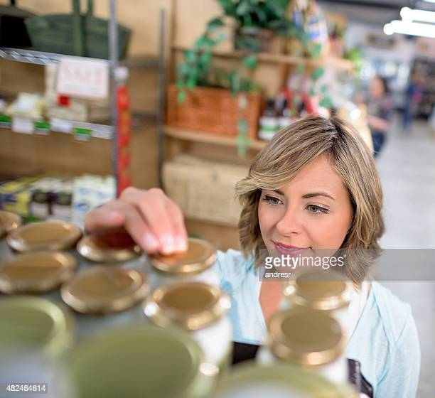 Woman working at a grocery store