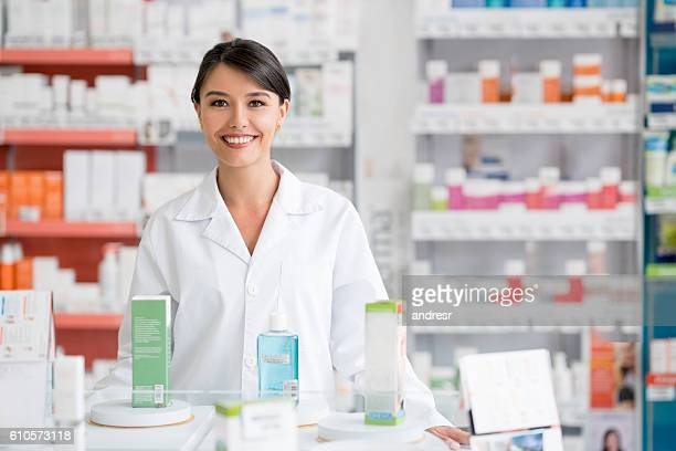 Woman working at a pharmacy