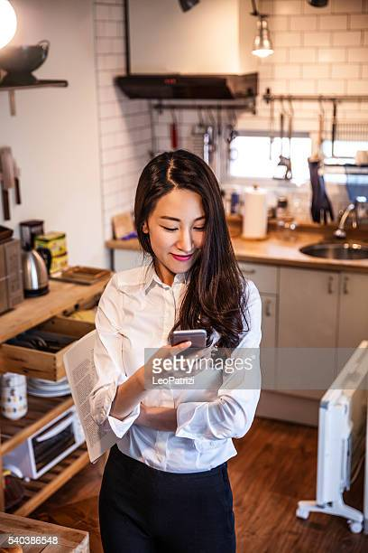 Woman working at home in Seoul