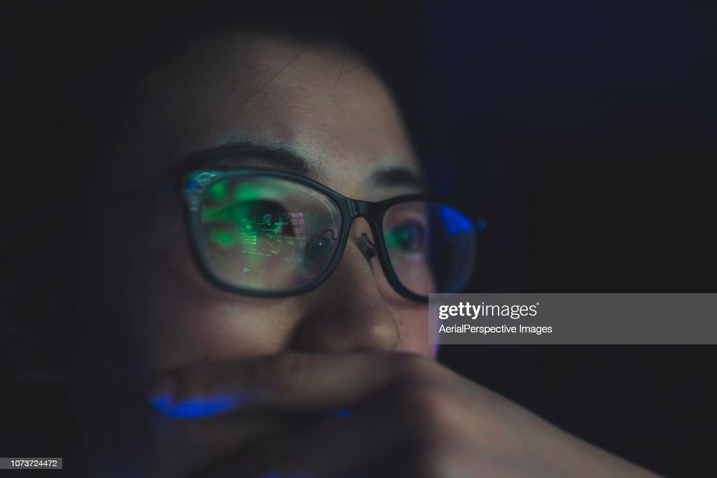 Woman Working at Night : Stock Photo