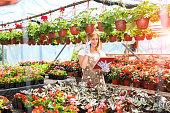 female florist talking phone at greenhouse