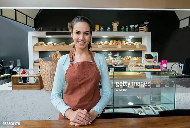 Woman working at the bakery