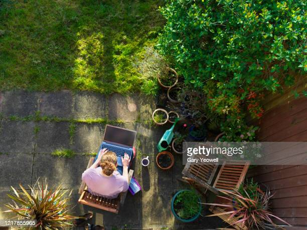 woman working from home in her garden - laptop stock pictures, royalty-free photos & images