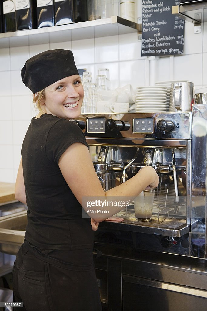 A woman working in a cafe Sweden. : Stock Photo