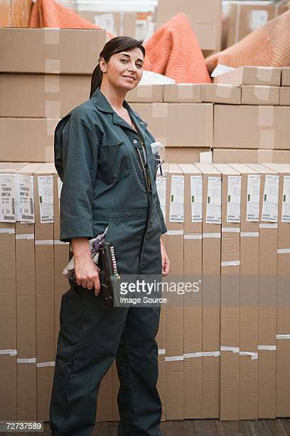 Woman working in a distribution warehouse