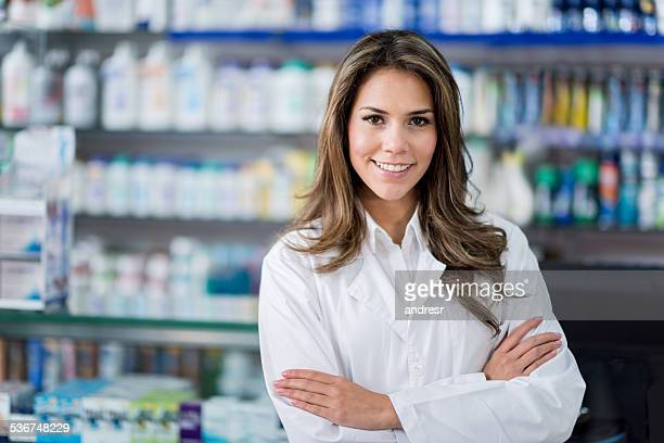 Woman working in a drugstore