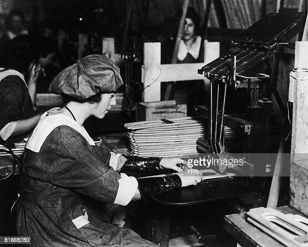 A woman working in an American aircraft factory 1917