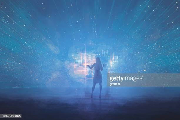 woman working in futuristic vr environment - graphical user interface stock pictures, royalty-free photos & images