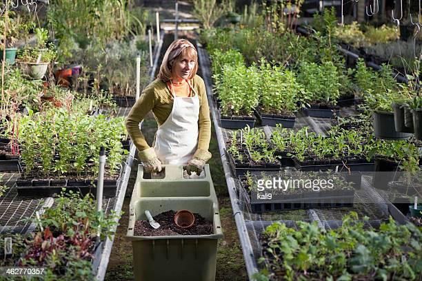 Frau arbeitet im Garten-center