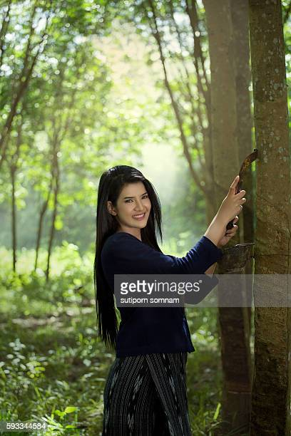 Woman working in the rubber tree