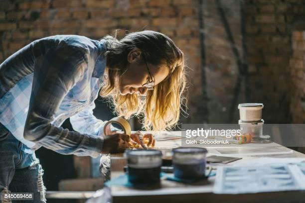 Woman working in the studio
