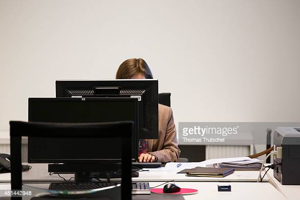 Woman working on a computer in an office on June 23 in Luxembourg City Luxembourg