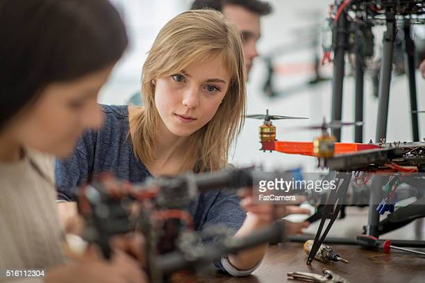 Woman Working on a Drone