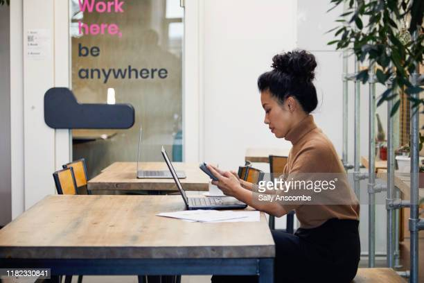woman working on a laptop - sally anscombe stock pictures, royalty-free photos & images
