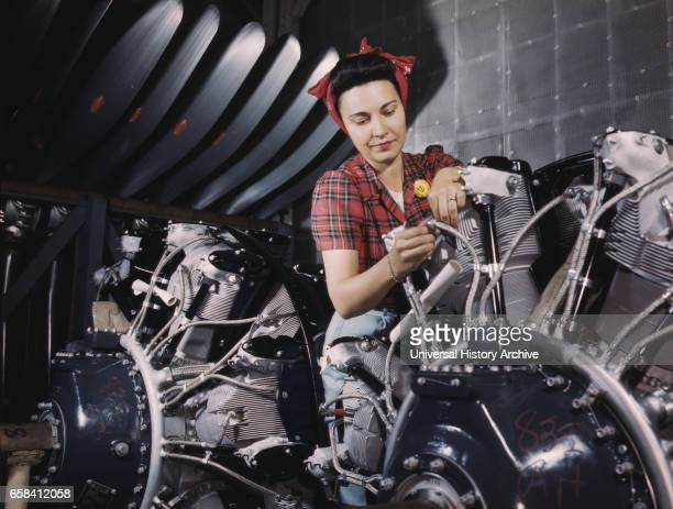 Woman Working on Airplane Motor North American Aviation Plant California USA Alfred T Palmer for Office of War Information June 1942