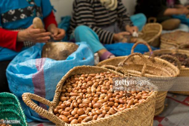 woman working on argan oil factory in morocco - rabat morocco stock pictures, royalty-free photos & images