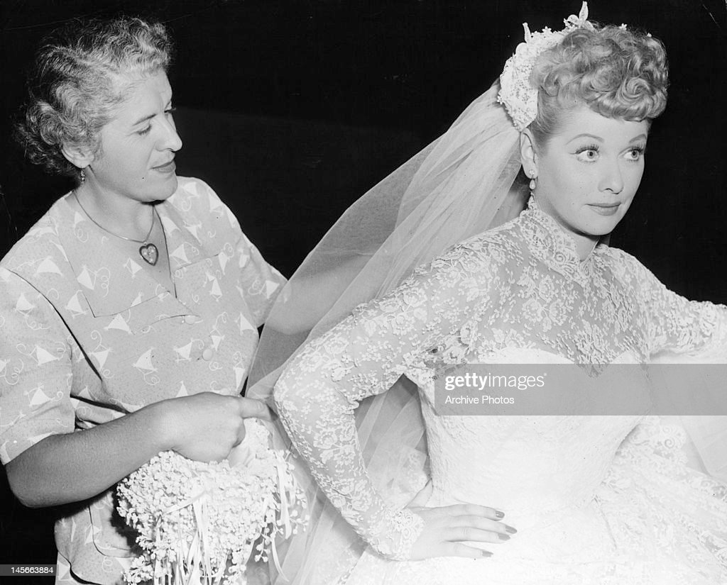 Woman Working On Lucille Ball S Wedding Dress From The Film Long Trailer