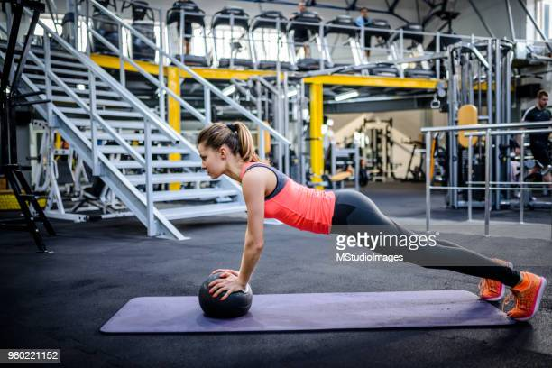 Woman working out at the gym.