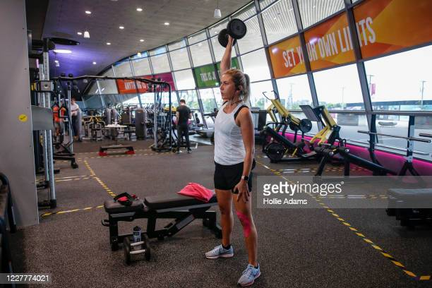 Woman works out in the gym at London Aquatics Centre on July 25, 2020 in London, England. After further easing of the United Kingdom's coronavirus...