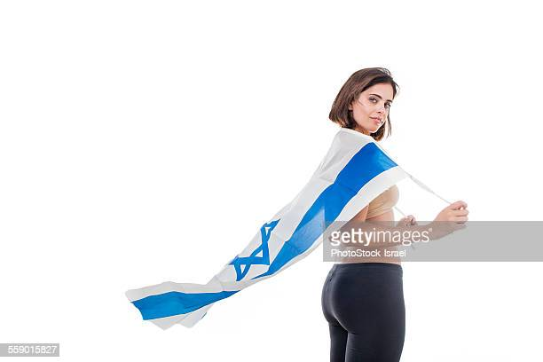 Woman wrapped in the Israeli flag