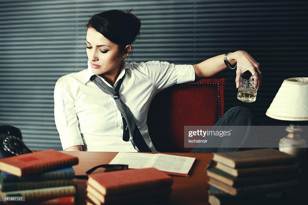 Woman writer seeking inspiration : Stock Photo