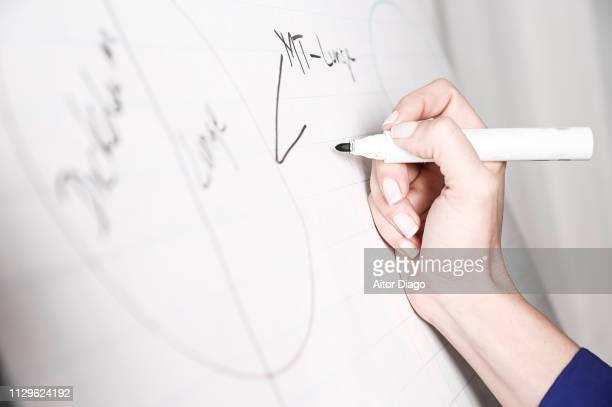 woman writing notes. kinesiology. - pen schrijfgerei stockfoto's en -beelden