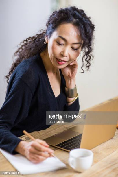 A woman writing