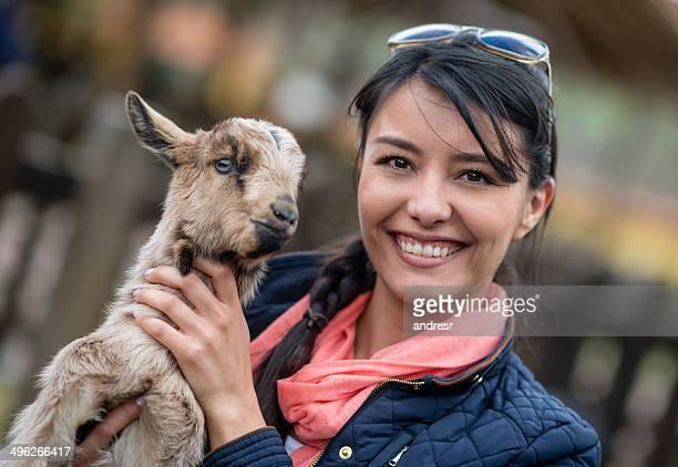 Woman wtih a goat