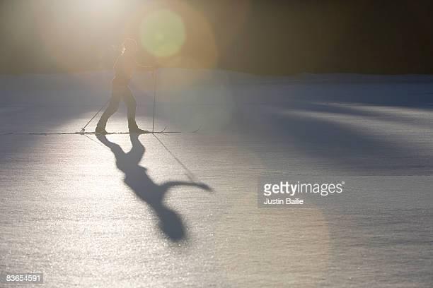 Woman xc skiing near Silverton, CO