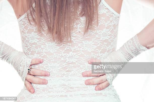 woman's back in lace - 指なし手袋 ストックフォトと画像