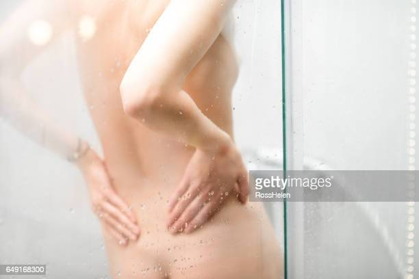 Woman's back in the shower