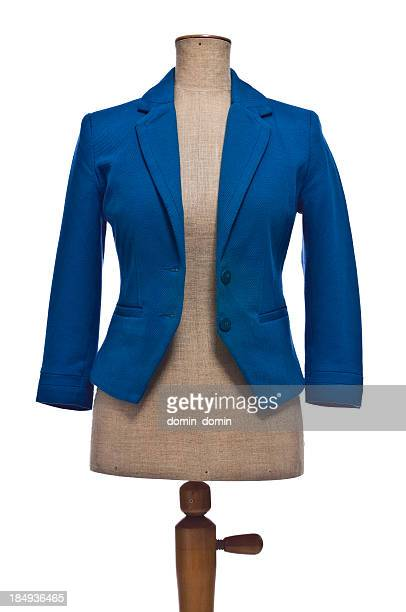 Woman's blue blazer on mannequin, isolated