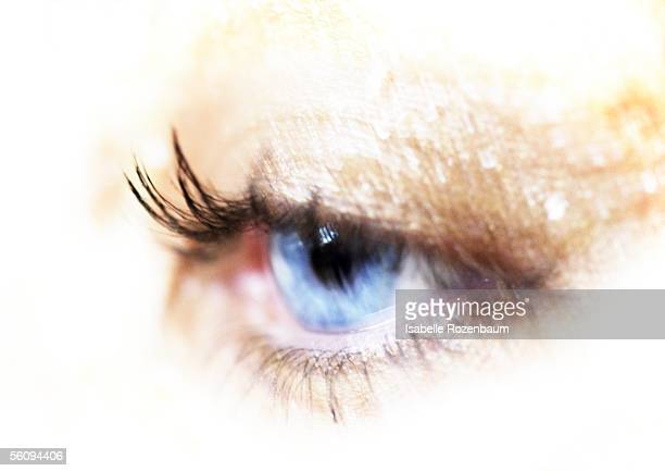 Woman's blue eye, extreme close-up