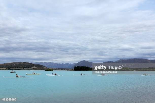 Womans club single rowers wait for the start of their heat during the Canterbury Championships on January 18 2014 in Twizel New Zealand