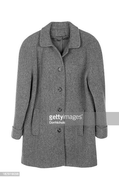 woman's coat isolated - gray coat stock pictures, royalty-free photos & images