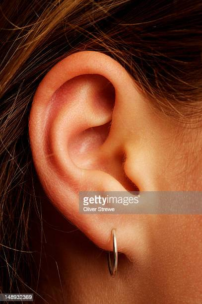 woman's ear with earring. - earring stock pictures, royalty-free photos & images
