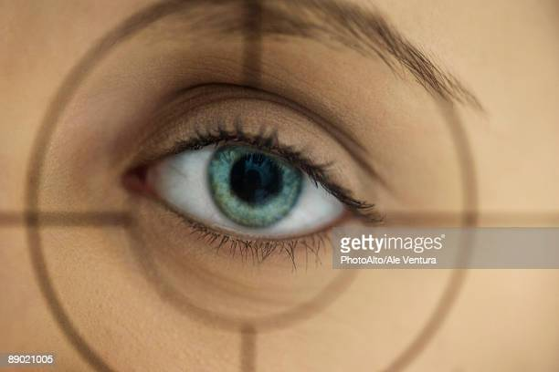 Woman's eye behind gunsights