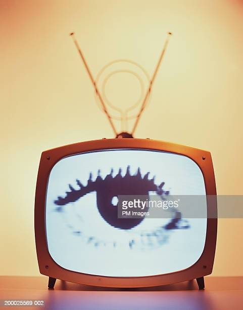 woman's eye on television screen - big brother tv series stock pictures, royalty-free photos & images