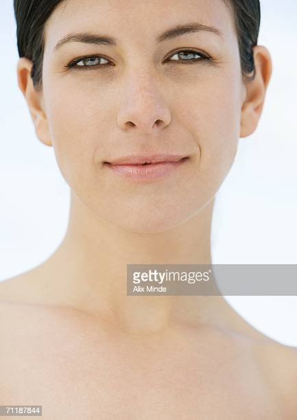 woman's face and neck, close-up - clavicle stock photos and pictures