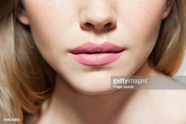 Womans face, close up of mouth