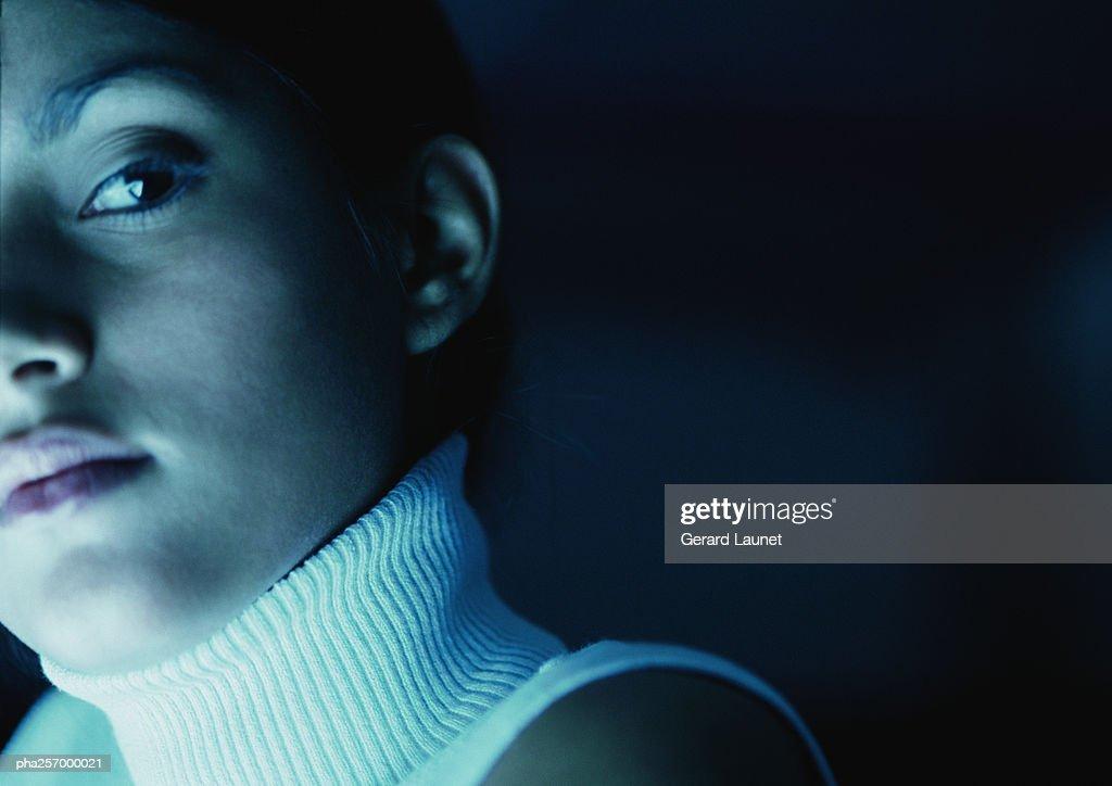 Woman's face, close-up : Stockfoto