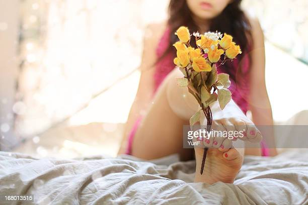 woman's feet and flower. - japanese women feet stock photos and pictures