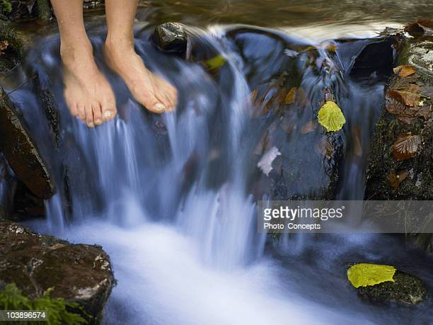 Woman's feet in a stream of water