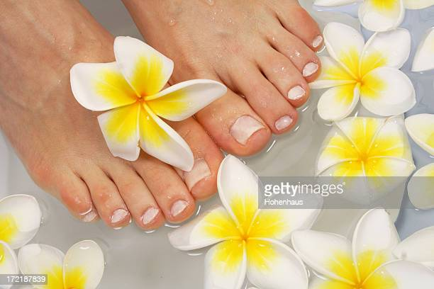 woman's feet in bath with frangipani therapy