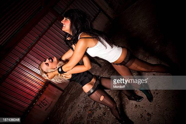 woman's fight club - women wearing pantyhose stock photos and pictures